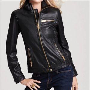 Via Spiga Women's Black Gold Zip Leather Jacket